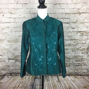 Chico's emerald green jacket with jewels